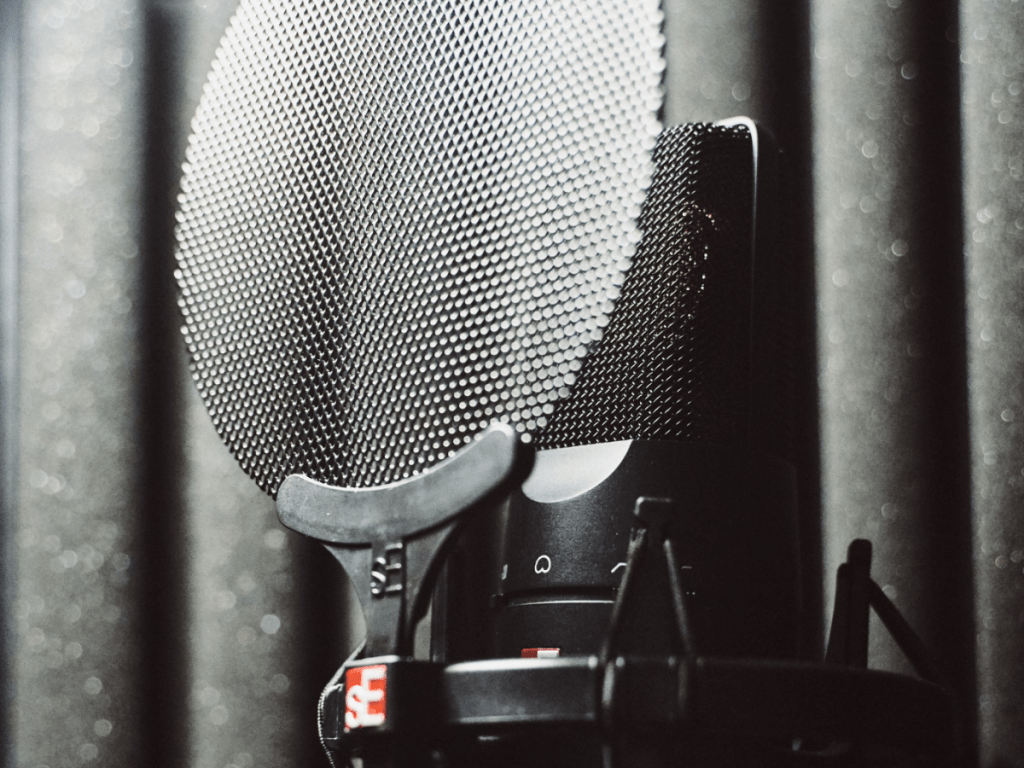 microphone in sound booth