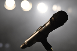 microphone with lights in the background